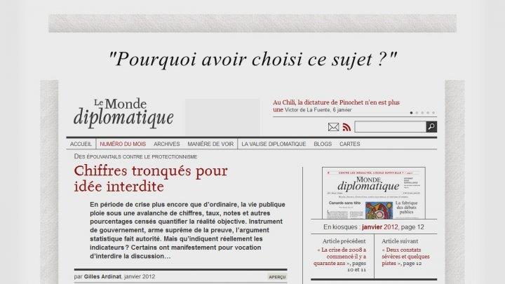 """""""Des épouvantails contre le protectionnisme: chiffres tronqués pour idée interdite"""", article publié dans Le Monde diplomatique"""