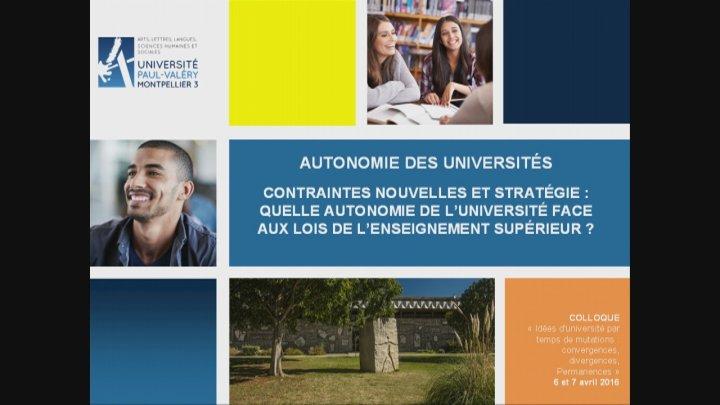 Autonomie des Universités, allocution d'Anne Fraïsse